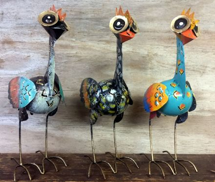 Funky Colourful Metal Bird Sculpture